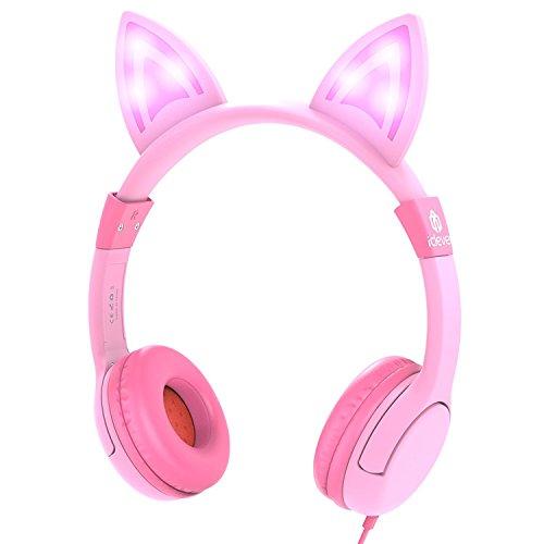 Kinder Kopfhörer, iClever Kids Kopfhörer über Ohr, Kabelgebundene Kopfhörer 85dB Volumen begrenzt, Lebensmittelqualität Silikon, LED Taschenlampe, 3,5 mm Aux Kabel, Kopfhörer für Kinder, LED-Rosa