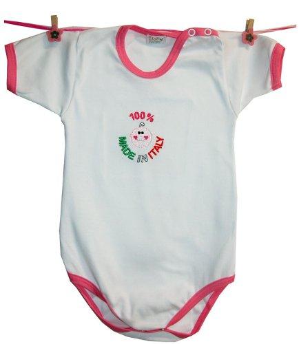Zigozago - Body Bèbè à Manches Courtes pour bébé avec Broderie Made in Italy Taille: 9 Mois - Couleur: Rose - 100% Coton