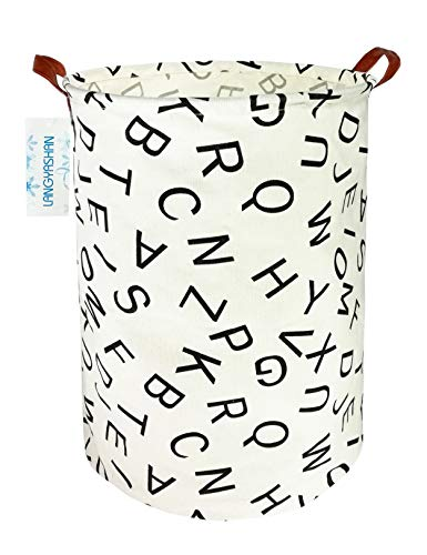 LANGYASHAN Storage Bin,Canvas Fabric Collapsible Organizer Basket for Laundry Hamper,Toy Bins,Gift Baskets, Bedroom, Clothes,Baby Nursery(Alphabet)