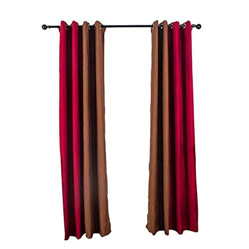 Farmer-W gordijnen in twee kleuren, gordijnen met ogen, kleurblok, behandeling van raamgordijnen, warmte-isolerend, 39 x 98 inch, 1 stuk voor woonkamer, well-mat