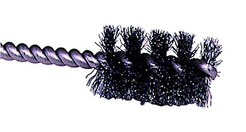 Weiler 21080 0.008' Wire Size, 1-1/4' Diameter, 3-1/2' Length, Steel Bristles, Stainless Steel Stem, Round Power Tube Brush