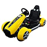 Electric go carts for Kids, 12V Battery Powered 4 Wheel Racer, Double Drive Motor Go Kart, Pedal Cars for Outdoor, Ride On Toy Car with LED Flash Light/MP3/USB/Music (Yellow)