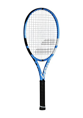 """Babolat Pure Drive 110 Extended Oversized Black/Blue/White Tennis Racquet (4 5/8"""" Grip) Strung with White Color String (Best Racket for Power and Comfort)"""