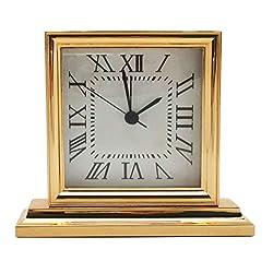 Metal Small Vintage Table Alarm Clock, Gold Finished, Decorative Antique Classic Desk Clock for Bedroom Living Room Shelf Decor, 5-3/8 Base