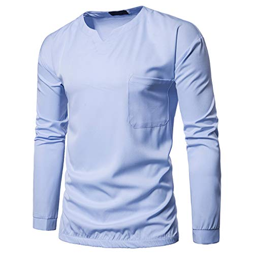 Zylione Herren Henley Hemd Shirts Mode Herren Nadel Zeigen Herbst Langarm V-Ausschnitt Top Bluse Herren Hemd 2019 Herbst Lange Ärmel Hemd Regular Fit Freizeithemd Casual T-Shirt Herren T-Shirt Shirt