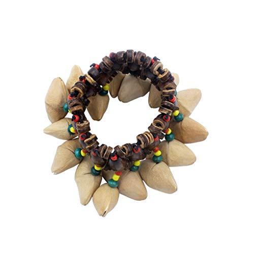 Vokmon Tribal Africana Estilo nueces Shell Pulsera Dora Nuez del Handbell percusión Accesorios Brazalete Band