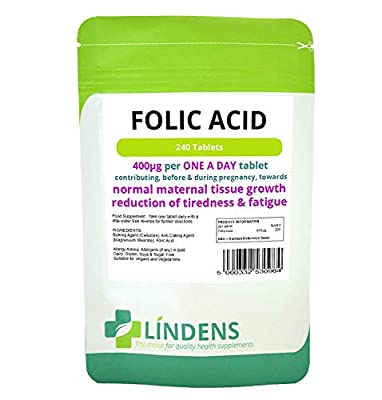 Folic Acid Tablets 2-PACK 480 tablets, 400mcg - ONE A DAY (folacin, vitamin B-9) from Lindens Health and Nutrition Ltd