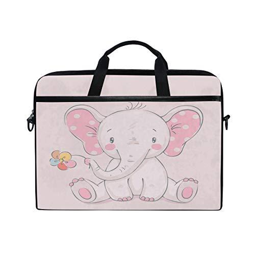 HAIIO Laptop Bag Case Cute Flower Elephant Animal Pattern Computer Protector Bag 14-14.5 inch Travel Briefcase with Shoulder Strap for Women Men Girl Boys