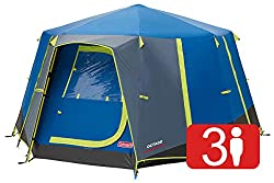 360 degree view plus enhanced ventilation: Seven large windows and mesh roof for maximum air circulation; hinged door opens like a real door for easy access Sturdy and easy to pitch family size octagon tent: Colour-coded steel poles for easy set up a...