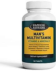 Men's Daily Multimineral Multivitamin Supplement. Testosterone Booster Vitamins A C E D B1 B2 B3 B5 B6 B12. Biotin, Spirulina, Zinc. Antioxidant Properties, Immune Health. 60 Capsules