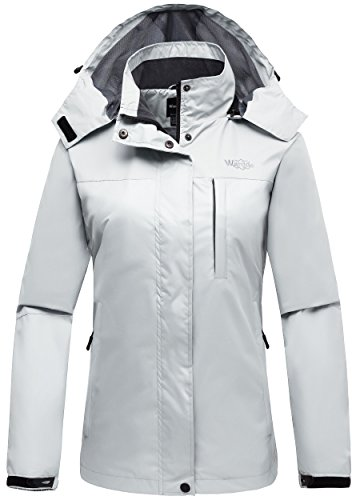 Wantdo Women's Windbreaker Windproof Jacket Detachable Hood Sportswear White L