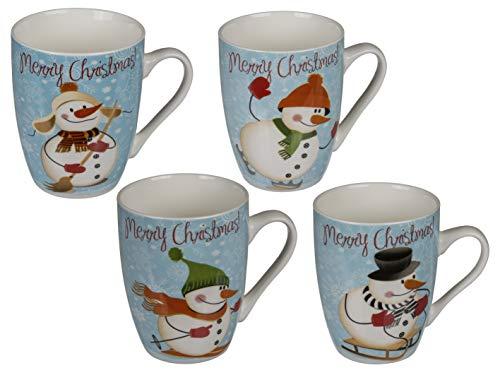 MC Trend New Bone China-Becher Schneemann Motiv Merry Christmas Kaffee-Tee-Kakao-Glühwein-Tasse 240ml (4er Set / 4-Fach Sortiert)