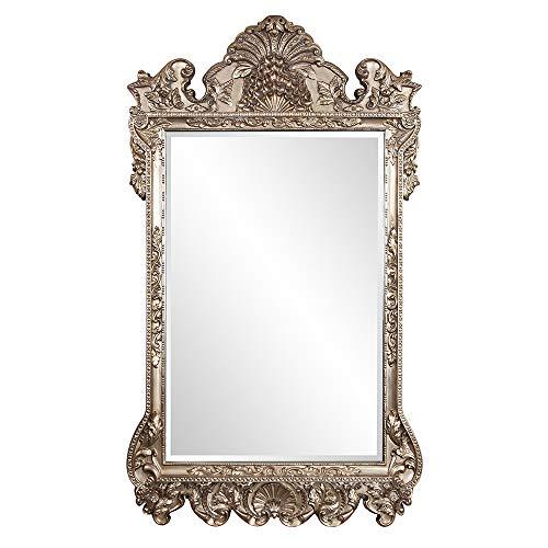 Howard Elliott Marquette Antique Oversized Mirror, Leaning Wall Ornate Mirror, Full Length, Silver Leaf, 49' x 84' x 3'