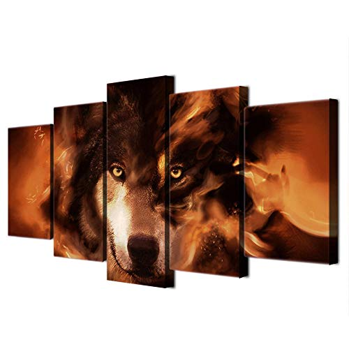 XIAOJIJI wandkunst schilderijen wandschilderij zonder lijstjes sproeischilderij olieverfschilderij vijf canvas schilderij wolf abstract wandschilderij Home Decoration Canvas schilderwerk 30*40cm*2 30*60cm*2 30*80cm*1(cm) Frameloos
