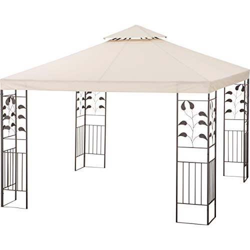 Euromate GmbH Pavillon Cangas Beige 330 cm x 330 cm | Pavillion im stilvoll, verspielten Design