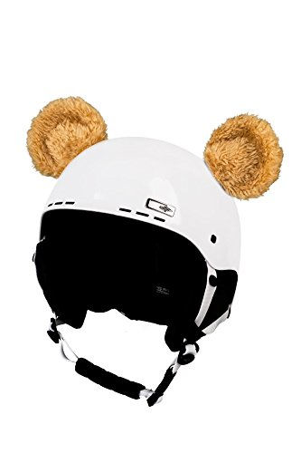 Crazy Ears Helm-Accessoires Biene Teddy Maus Katze. Ski-Ohren geeignet für Skihelm Motorradhelm Fahrradhelm und vieles mehr. Helm Dekoration für Kinder und Erwachsene, CrazyEars:Bären Ohren