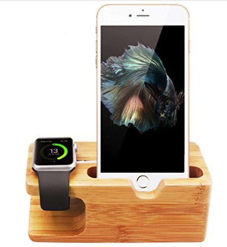 Evst, stazione di ricarica 2 in 1 in bambù per Apple Watch e iPhone, postazione di ricarica, supporto per Apple Watch da 38 e 42 mm e per iPhone 6, 6 Pus, 5, 5S