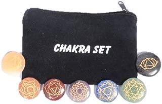 Jet Engraved Reiki Chakra Stones With Chakra Case Set of 7 Chakra Stones Symbolizing Body Chakras