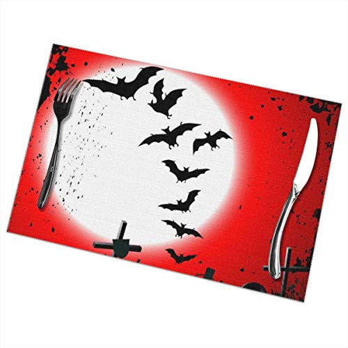 Sitear Halloween-Hintergrund zerstörter Friedhof, hitzebeständig, für Tischdekoration, 30,5 x 45,7 cm, 6 Stück