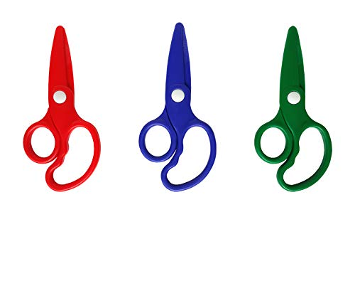 Play Doh / Pretend Play - Scissors Tool - 3 Pieces Assorted Colors.NON-TOXIC Saftety Stationery Plastic Scissors.