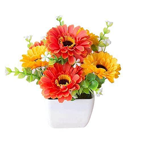 Planta Artificial en Maceta de Flores de crisantemo Realista Gypsophila Maceta de Madera Bonsai Adornos para el jardín del hogar Decoración, Naranja