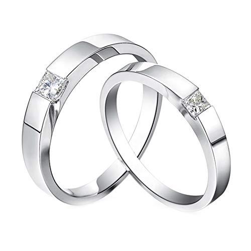 Daesar 18K White Gold Rings Women and Men Couple Promise Ring Set Simple Round Diamond Ring Set White Gold Ring Women Size N 1/2 & Men Size V 1/2