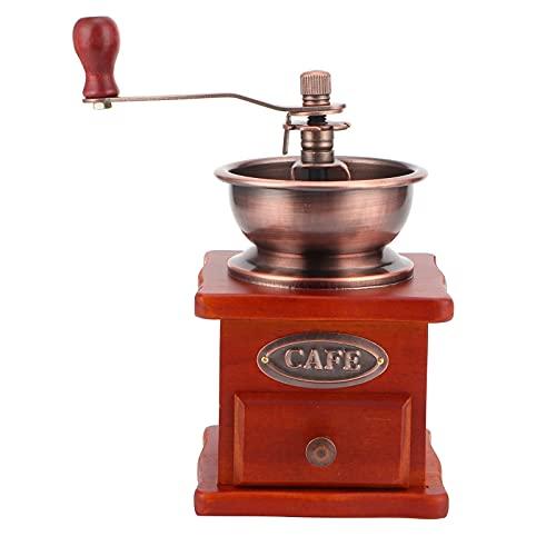 Manual Coffee Grinder, Vintage Wooden Manual Hand Crank Drawer Type Powder Bucket Wear‑resistant Coffee Bean Grinder for Household