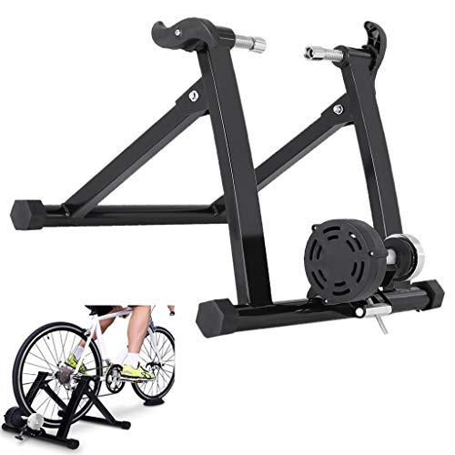 Bike Trainer Stand, Magnetic Bicycle Stationary Stand for Indoor Exercise, Quiet Noise Reduction, Indoor Fitness Device (Black)