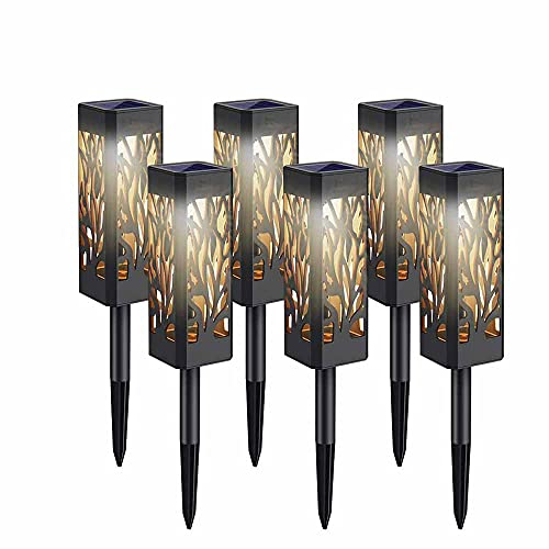Select Zone - Juego de 6 lámparas solares para jardín (luz blanca cálida, impermeables)