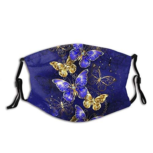 Bandanas reutilizables lavables con trabillas ajustables para las orejas, bufandas de moda para adultos con 2 filtros de zafiro, mariposas, 1 unidad