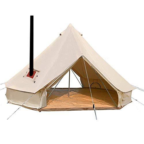 Sport Tent 4-Jahreszeiten Outdoor Camping Zelte Baumwolle Wasserdicht Familienzelt Tipi Indianerzelt Teepee Glockenzelt mit 2 Türen und Herdloch/Kaminrohre Entlüftung (5 M, Mit Ofenloch)