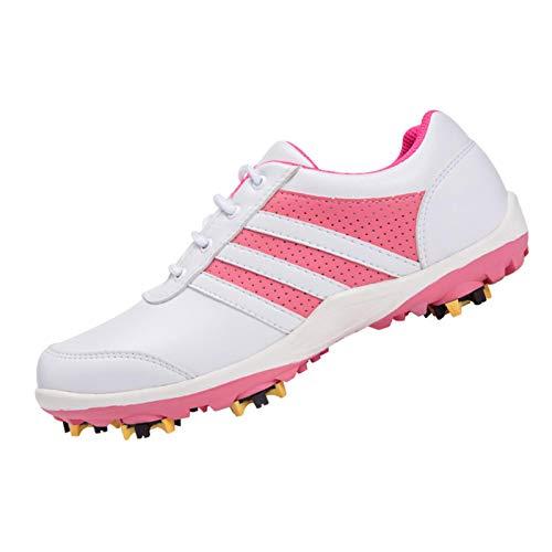 CGBF-Zapatos de Golf Cómodos y Transpirables para Mujer con Actividad Picos de Zapatos,Calzado Deportivo Antideslizante e Impermeable,Zapatos Casuales Al Aire Libre,Rosado,38 EU