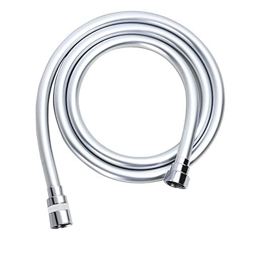 GOODCORNER 1.5m Tubo Doccia in PVC liscio antipiega e antigroviglio Flessibile Doccia lungo tenuto in mano della sostituzione con raccordi in ottone