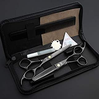 Professional Barber Japan Hair Salon Cutting Thinning Scissors Black Color Hairdressing Shears Set with Case (UnitCount : One Set)