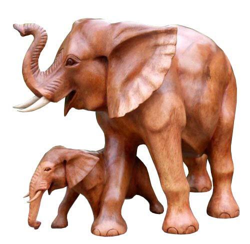 ELEFANT mit Kind Holz Tier Afrika Elephant 05