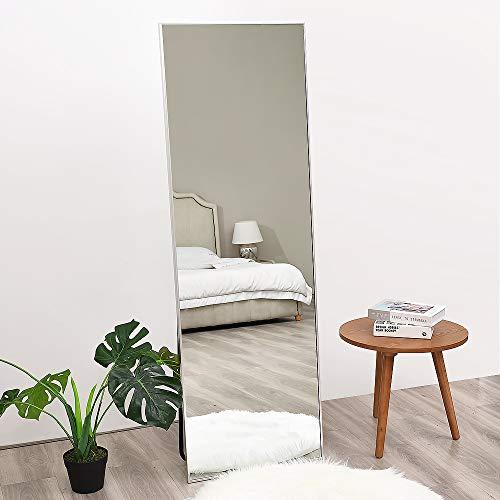 Full Length Mirror, Floor Standing Mirror, Full Body Mirror, Wall Mirror Full Length, Floor Mirror Full Length, Multi-Purpose Standing and Hanging, Thin Aluminum Frame, 65'×22', Silver