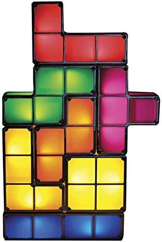 SHKUU Lámpara Tetris Apilable LED Luz Noche, 7 Colores Lámpara Escritorio Luz Humor, DIY Retro 3D Juguete Niños Tetris Lámpara Lámpara Mesa Accesorio Bloques construcción Juguete