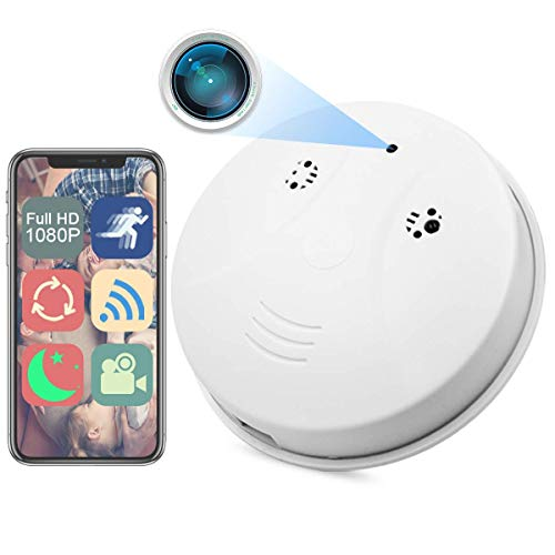Camera Smoke Detector, WiFi HD 1080P Nanny Cam Mini Video Recorder Surveillance Camera for Indoor Home Security Monitoring Baby Pet Motion Detection Night Vision