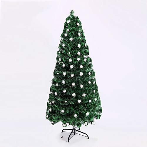 SMQHH Christmas Tree Artificial Christmas Tree,Tall Artificial Tree Multi-Colored Fiber Optic LED Pre-Lit Holiday Home Christmas Decoration,Green (Size : 90cm(3FT))