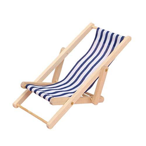 Pieghevole Miniatura a Strisce Blu Beach Chair Modello Sedia a Sdraio Mini Tempo Libero in Legno Per Dollhouse Garden Accessori