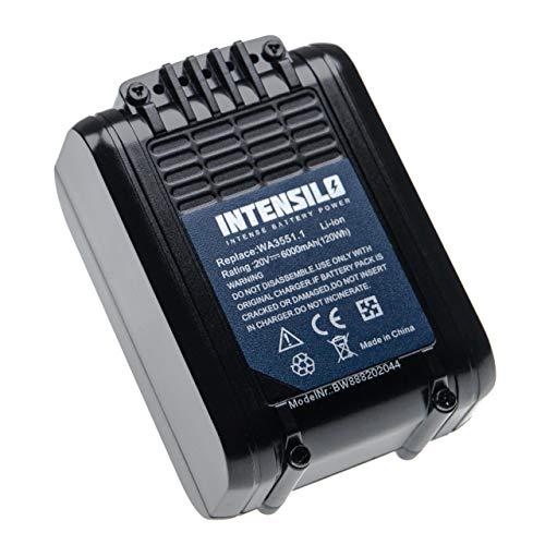 INTENSILO Batería compatible con Worx WX175.1, WX175.9, WX176, WX176.3, WX176.9, WX178, WX178.1, WX178.9 herramientas eléctricas (6000mAh Li-Ion 20V)