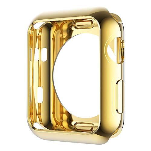 Leotop Kompatibel mit Apple Watch Hülle 40mm 44mm, Weiche TPU Plated Hülle Gehäuse Schutzfolie Schlankes Bildschirmschutz Stoßstange R&herum Abdeckung für iWatch Series 6 5 4 SE (44mm, Gold)