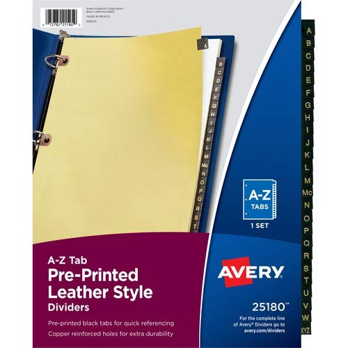 Avery Black Leather Tab Dividers; A-Z; 25 Tab; 8-1/2'x11'; Buff