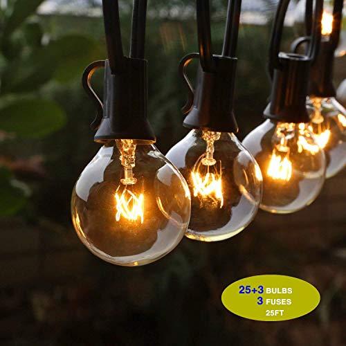 GiveU Outdoor String Lights, 25ft (7.62M) Perfect for Patio, Garden, Festoon Party Decor, -25 Bulbs + 3 Spare Bulbs + 3 Fuse