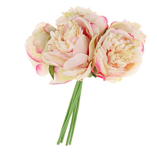 Price comparison product image COMFORT INNOVATION 1 Bunch Artificial Peony Flower Bouquet for Home Wedding Decor Champagne