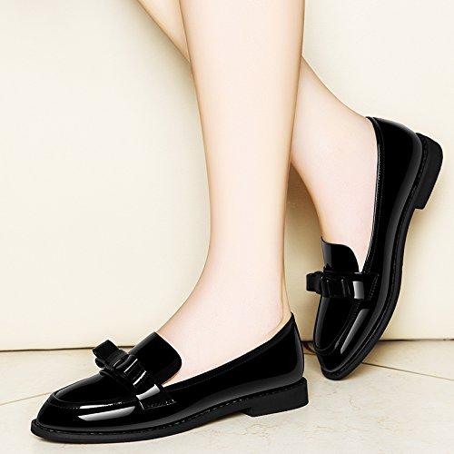 SDKIR-Chaussures en cuir verni, et cliquez sur la jeune fille chaussure basse, Angleterre vent chaussures femmes, télévision avec wild college petits souliers en cuir ,35, noir