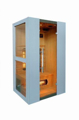 Levi 2 Plus Fullspektrum 2 Personen Sauna Infrarotkabine & Infrarotsauna / 2000 Watt/Infrarot Wärmekabine und viele Extras (Strahler IR-A, IR-B und IR-C) FULL SPEKTRUM