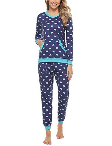 Aiboria Pijamas de Algodón para Mujer, Pijamas de Manga Larga con Cuello en V Suaves y Cálidos Ropa de Dormir para Mujer