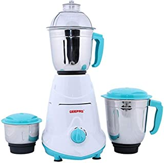 Geepas GSB5080 Mixer Grinder with Unbreakable Poly-carbonate Jar Caps (White and Blue)