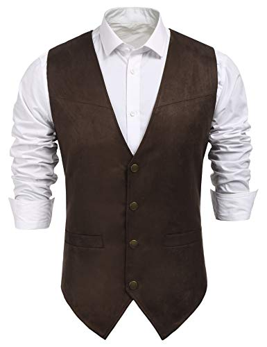 COOFANDY Men's Suede Leather Suit Vest Casual Western Vest Jacket Slim Fit Vest Waistcoat (X-Large, Coffe)